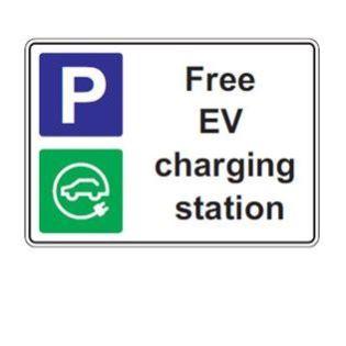 Free EV charging station signage